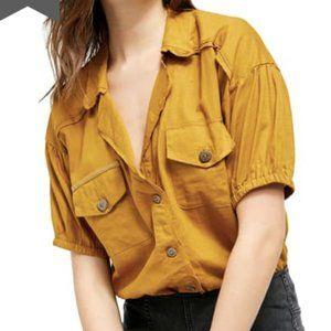 Free People So-Fari Linen Button Front Bodysuit S